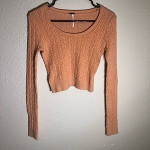 Free people granny knit long sleeve crop top